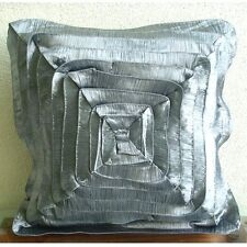 Vintage Style Ruffles 45x45 cm Crushed Silk Grey Cushion Cover - Vintage Glory