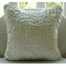 Textured Knotted Ivory Cushion Cover, Velvet 40x40 cm Cushion Cover - Snow Soft