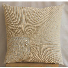 Peacock Feather Beige Cotton Linen Cushion Covers 55x55 cm - Peacock Pearls
