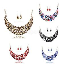 Elegant Women Bridal Wedding Party Full Crystal Necklace Earrings Jewelry Set