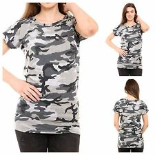 WOMENS LADIES CAMOUFLAGE CASUAL TURN UP SLEEVE TUNIC TOP T SHIRT PLUS SIZE 8-22