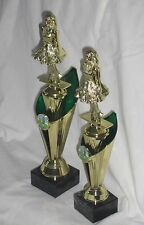 IRISH DANCING TROPHY, 2 SIZES, GREEN & GOLD WITH BLACK MARBLE BASE