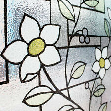 Embossed Static Window Film Stained Glass Frosted Vinyl PVC Privacy Paper Flower