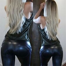 PU Leather Sexy Women Skinny Long Trousers Tight Slim Stretchy Gym Pencil Pants