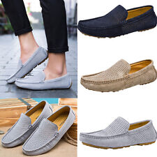 Mens Leather Suede Breathable Slip On Driving Shoes Moccasin Loafer Peas Shoes