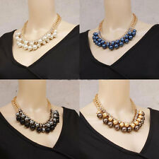 Fashion Gold Chain Crystal Pearl Beads Cluster Collar Statement Bib Necklace