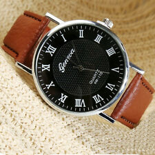 Casual Unisex Fashion Men Women Leather Stainless Steel Quartz Wrist Watch New