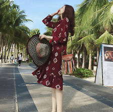 New Womens Knee Length Dress Bowknot Long Sleeve Chiffon Flouncing Wine Red V057