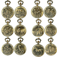 Retro Animal Pocket Watch Chinese Zodiac Antique Style Necklace Quartz Watches
