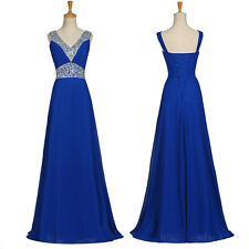 blue Long Chiffon Evening Formal Party Ball Gown Prom Bridesmaid Dress Size 6~20