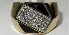 TK3224PB MANs MENS GOLD STAINLESS STEEL SIMULATED DIAMOND RING ONYX SIGNET PINKY