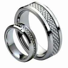 Men Or Ladies  Tungsten carbide SILVER Carbon Fiber inlay wedding Band Ring SET