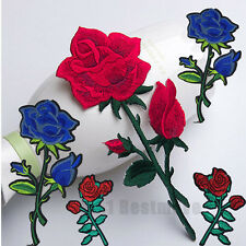 2pcs Lace Red Roses Patches Iron On Sew On Embroidered Rose Flower Patch Badge