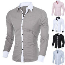 Fashion Mens Luxury Stylish Casual Dress Slim Fit T-Shirt Casual Long Sleeve Top