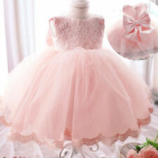 Baby Girl Princess Bow Lace Dress Party Wedding Pageant Formal Dresses Clothes