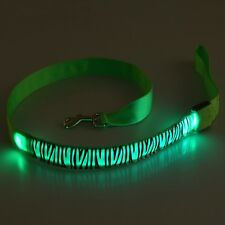 LED Light Up Dog Pet Night Safety Bright Flashing Nylon Leopard Luminous Leash