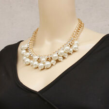 Fashion Jewelry Pendant Crystal Chain Chunky Statement Pearl Bib Necklace Gift