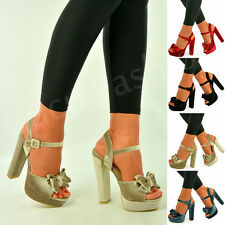 New Womens Platforms Ladies Bow Ankle Strap Sandals Block Heel Shoes Size Uk 3-8