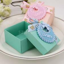 25pcs Girl Boy Baby Shower Candy Box Favors Baby Bib Ribbon Bowknot Gift Bags