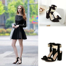 Ladies Chunky Ankle Cuff Strap Women High Heels Strappy Sandals Open Toe Shoes H