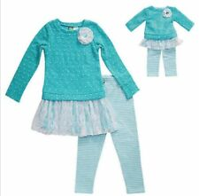 Dollie & Me Legging Set w/Matching Outfit For 18-in Doll Teal Choose Size NWT
