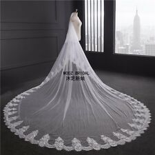 Lace Appliques Cathedral Wedding Veils Bridal Veil Two Tier White Elegant Comb