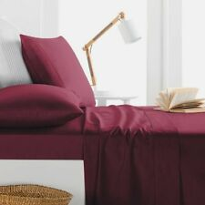 1000TC Egyptian Cotton SHEET SET Sateen Solid Cranberry