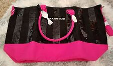 Victoria's Secret NWT sequin stripe weekender travel tote bag purse