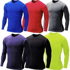 Men Long Sleeve Sports T-shirt Compression Athleisure Under Shirt Base Layer Top