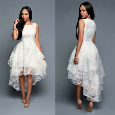 Luxury Women's Lace Wedding Dress Hi-Lo Organza Party Pageant Evening Gowns