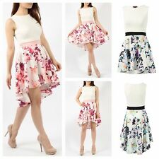 WOMENS LADIES SLEEVELESS CONTRAST FLORAL PRINT FLARED HILO DIP HEM SKATER DRESS