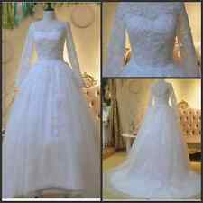 A-Line Bridal Gown Wedding Dress Applique lace Tulle Long Sleeves Custom Size