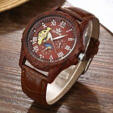 New Mechanical Leather Skeleton Wrist Automatic Watch Luxury Roman Dial Sport
