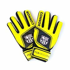Personalised Barcelona Goalkeeper Gloves - Order Any Name - Two Sizes
