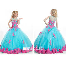 New Flower Girl Dresses Princess Kids Pageant Party Dance Wedding Birthday Gowns