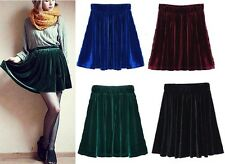 Vintage High Waisted Velvet A-line Short Elasticized Soft Skirt Gift