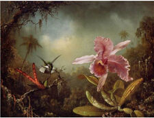 Handmade Oil Painting repro Martin Johnson Heade Orchid with Two Hummingbirds 02