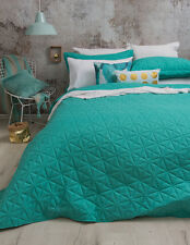 Regent Turquoise Diamond Quilted Single Double or Queen King Bedcover Coverlet