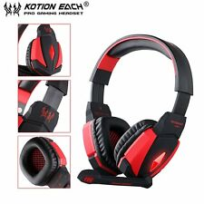 G4000 USB Stereo Gaming Headphone Microphone Volume Control LED Light PC Game SM