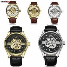 Mechanical Black Brown Leather Automatic Wrist Skeleton Watch Roman Arabic Dial