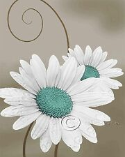 Daisy Right - Teal Floral Home Decor Picture Wall Art Living room