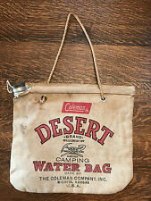Coleman Desert Brand Water Bag Flax Duck Scotland Camping 1940's Vintage Canvas