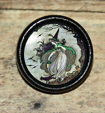 Fairy tale WITCH black cat Halloween Altered Art Tie Tack or Ring or Brooch pin