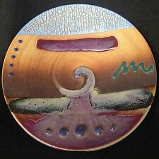 Large Modern handmade Pottery-ceramic contemporary Wall Hanging Plate-signed