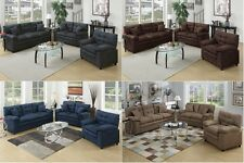 3 Pc Sofa Set Sofa Loveseat & Chair In 4 Colors Microfiber Living Room Luxurious