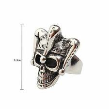 Vintage Silver Steampunk Ring Gothic Crown King Skull Shape Jewelry Steel Mens