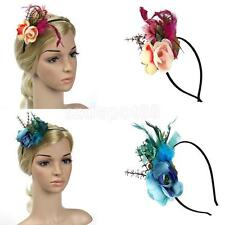 Vintage Feather Headband Fascinator Wedding Party Ascot Hairband Band Race