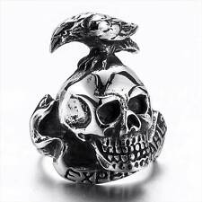Vintage Skull Head Bird Shape Stainless Ring Steampunk Silver Jewelry Rock Mens