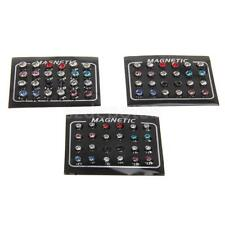 Rhinestone 12 Pairs Mixed Color Magnets Earrings No Piercing Ear Stud Unisex