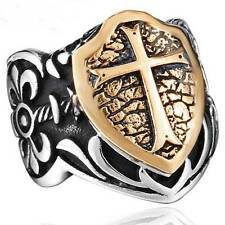 Retro Cross Shield Shape Stainless Steel Band Steampunk Silver Ring Jewelry Mens